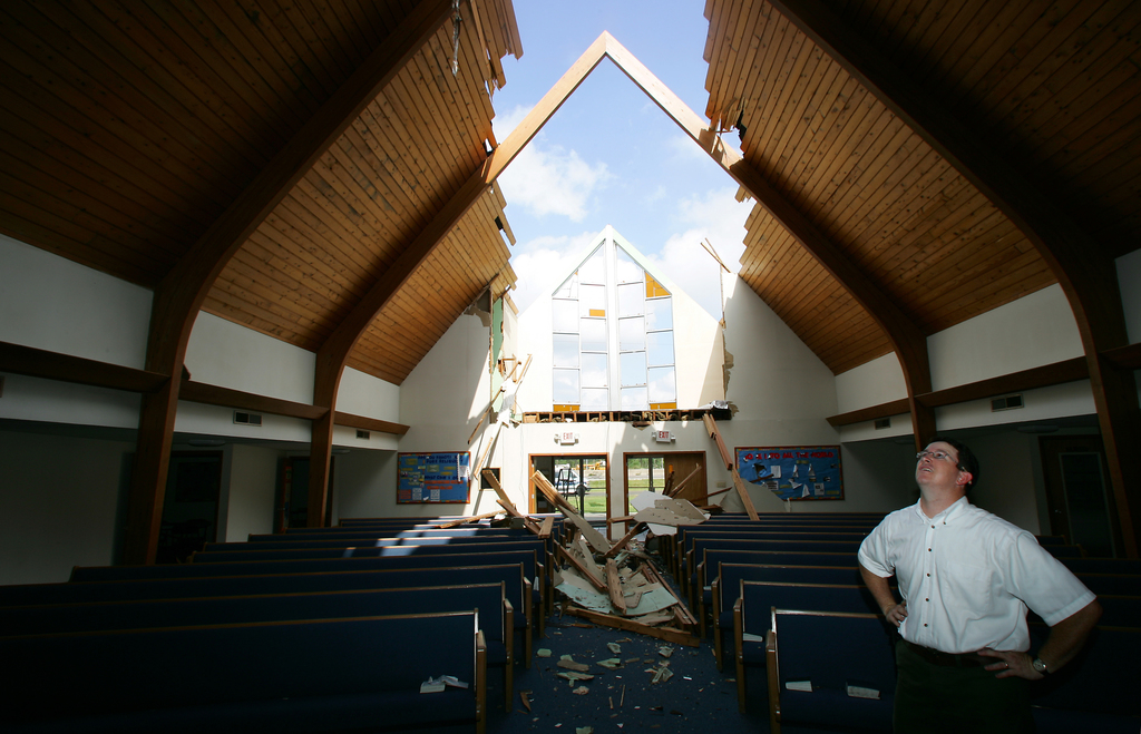 Church roof gone in Hurricane